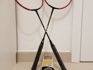 Selling: Set of 2 badminton rackets + 5 shuttlecocks