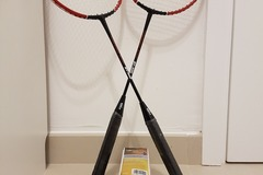 Selling: Set of 2 badminton rackets + 5 shuttlecocks